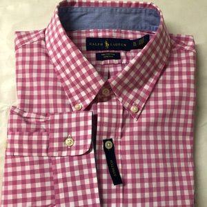 Ralph Lauren Mens Polo Dress Shirt. Pink White XL